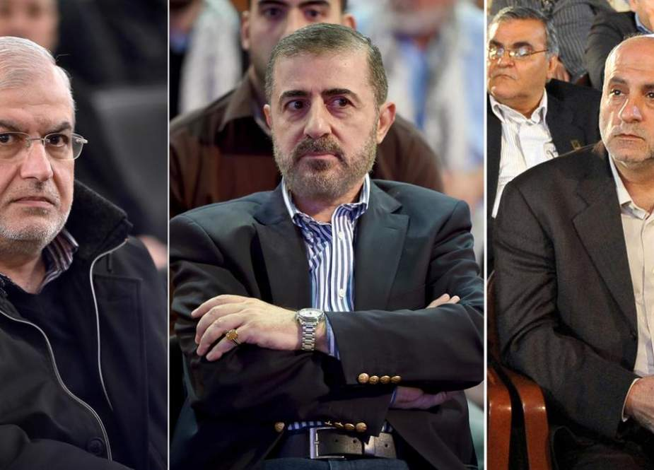 The US government imposed sanctions on Hezbollah MP Mohamed Raad(L), security official Wafiq Safa(C) and Hezbollah MP Amin Sherri(R).