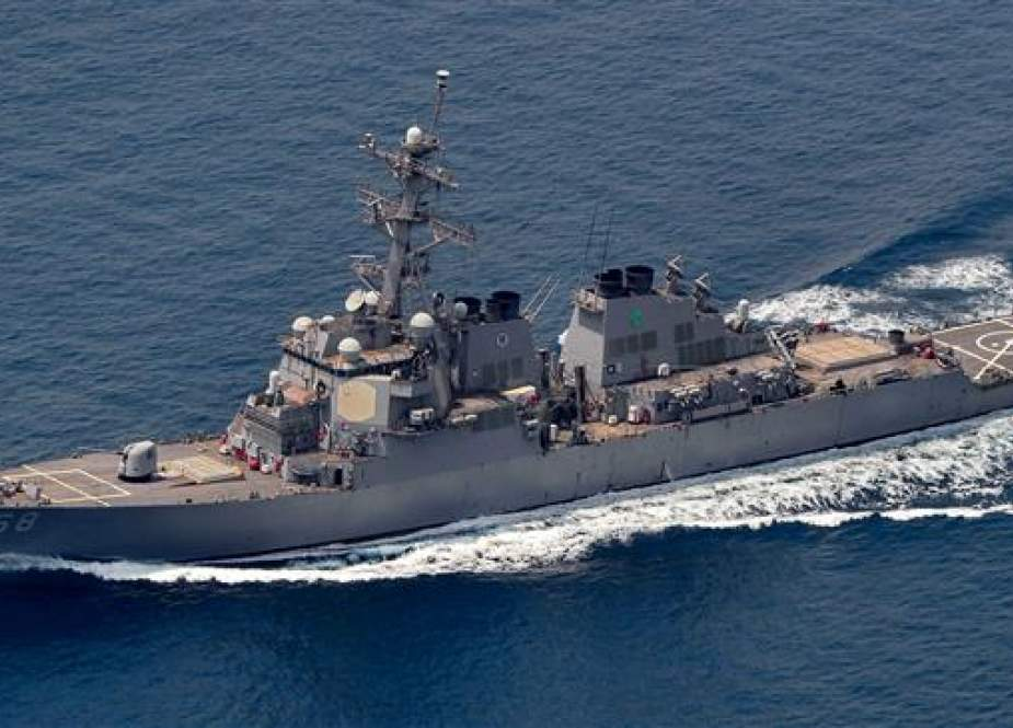 USS The Sullivans is the only major warship cruising the Persian Gulf..jpg