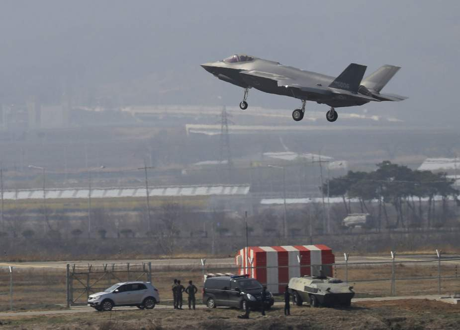A US F-35A fighter jet prepares to land at Chungju Air Base in Chungju, South Korea, on March 29, 2019. (Photo by AP)