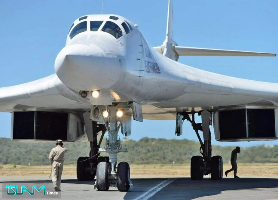 A Russian Tupolev Tu-160 strategic long-range heavy supersonic bomber aircraft