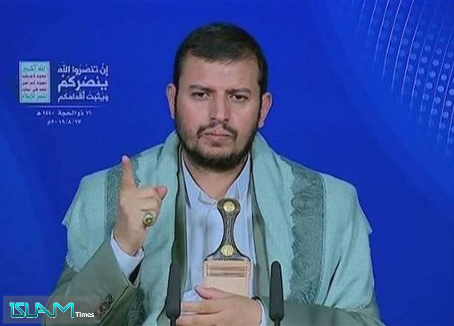 The leader of Yemen's Houthi Ansarullah movement, Abdul-Malik al-Houthi, addresses his supporters via a televised speech broadcast live from the Yemeni capital, Sana'a, on August 17, 2019.