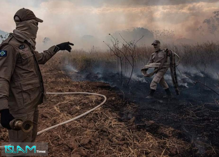 A firefighter combating a fire in the Amazon basin in the municipality Sorriso, Mato Grosso State, Brazil,