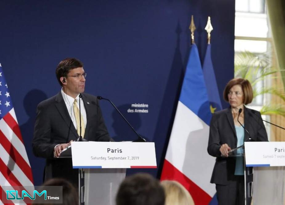 US Secretary of Defense Mark Esper holds a press conference at the French Defense ministry in Paris on September 7, 2019.