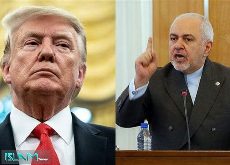 A combo shows Iran's Foreign Minister Mohammad Javad Zarif (R) and US President Donald Trump