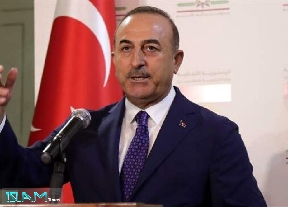 Turkish Foreign Minister Mevlut Cavusoglu gives a joint press conference with his Lebanese counterpart Gebran Bassil (not shown in the picture) in Beirut, Lebanon, on August 23, 2019.