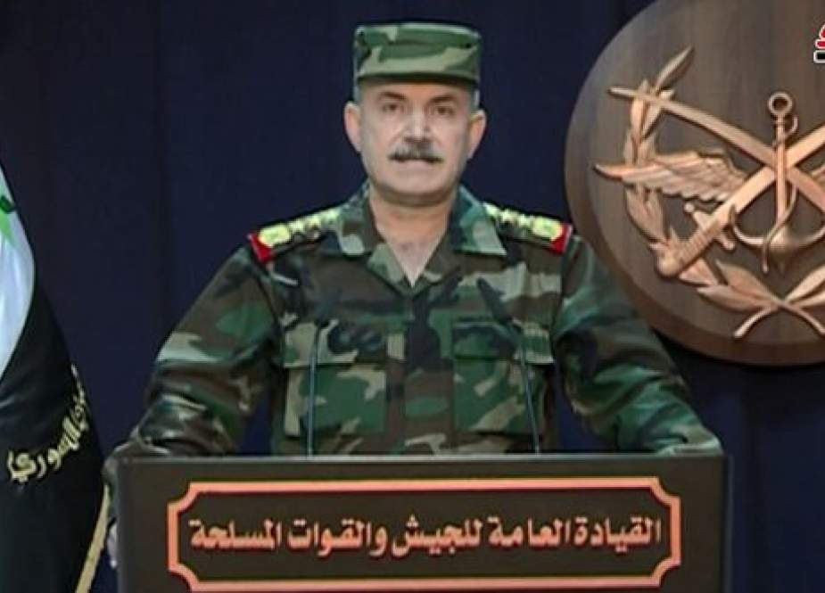 Spokesman of Syrian Army and Armed Forces General Command during press conference.jpg