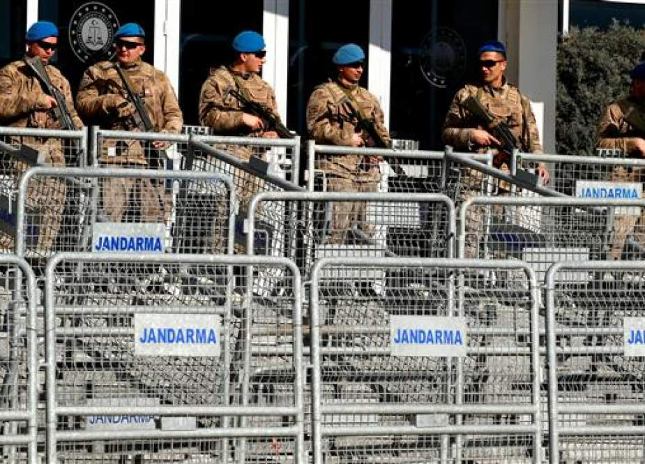 Turkish soldiers outside a courtroom at the Silivri Prison and Courthouse complex in Silivri, near Istanbul.jpg