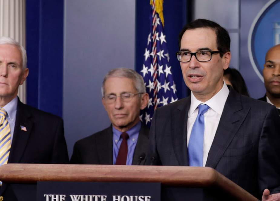 Steve Mnuchin during press briefing with members of the Coronavirus Task Force at the White House in Washington.JPG