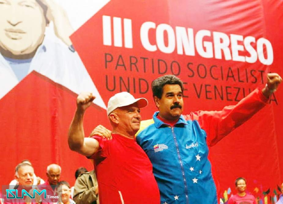 Hugo Carvajal (L) and Nicolas Maduro (R) pictured at the Socialist party congress in Caracas, 2014