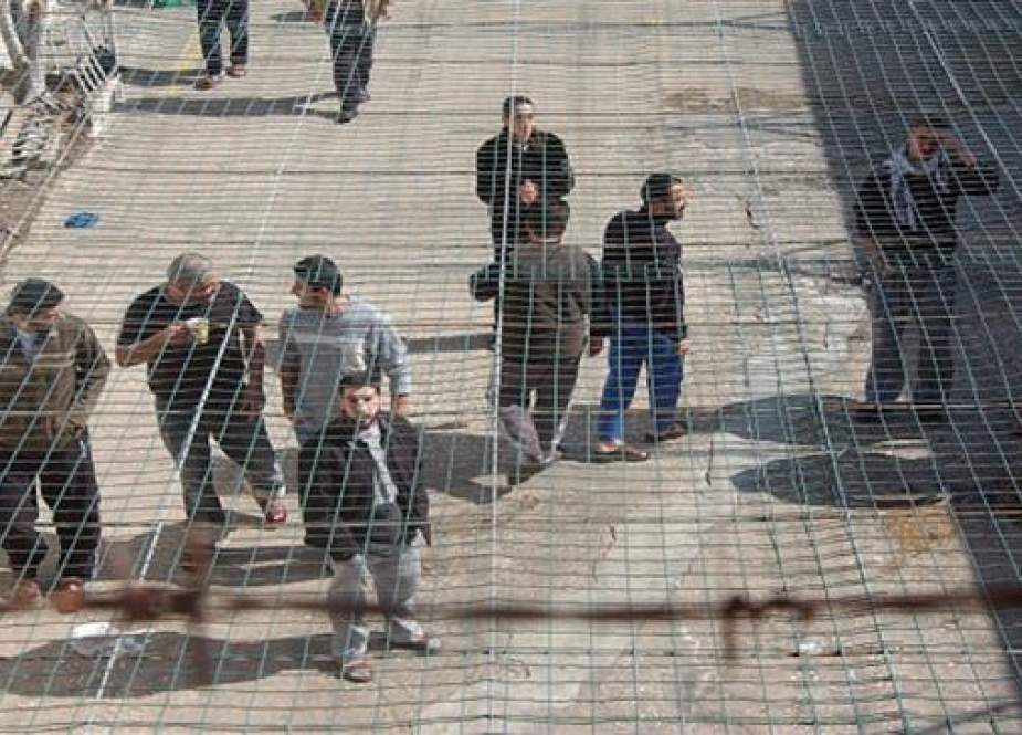 Palestinian prisoners are seen at the courtyard in Megido jail in the northern part of the Israeli.jpg
