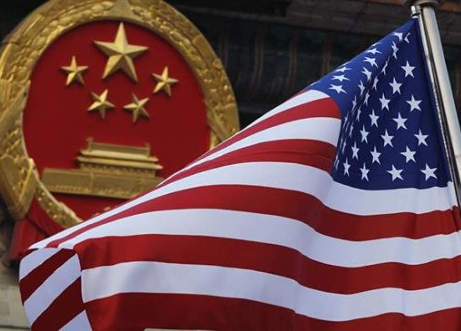 American flag is flown outside China