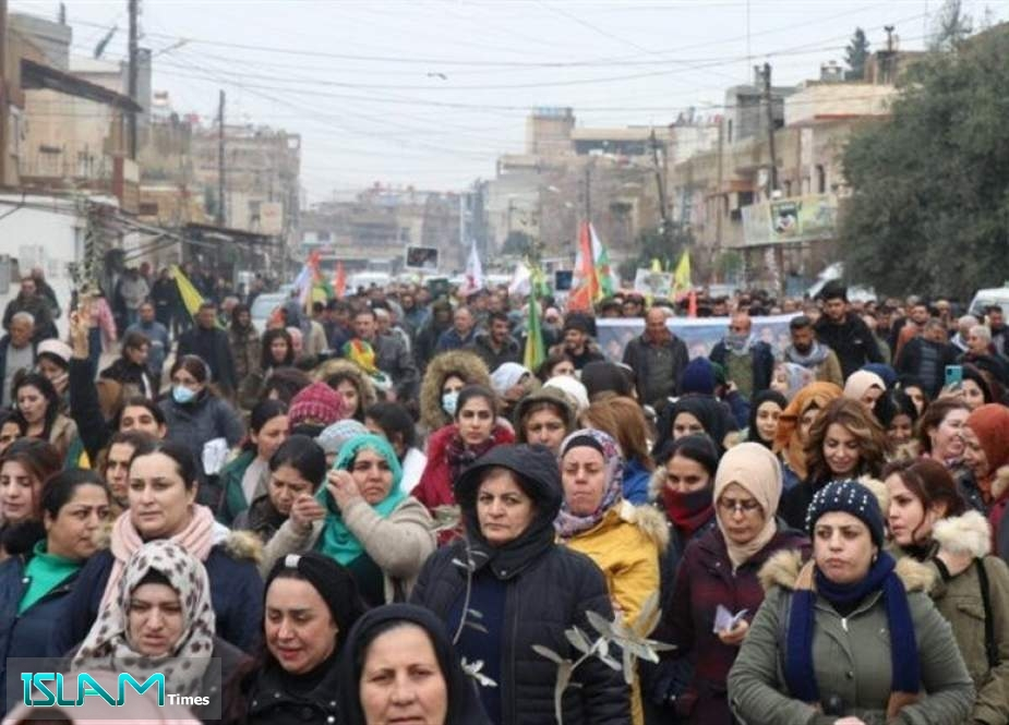 Displaced Syrians Demonstrate against Turkish Military Presence in Afrin