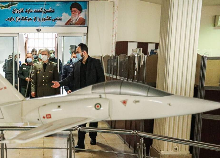Brigadier General Amir Hatami, visited the center for designing, manufacturing, and testing the main systems of Yasin jet.jpg